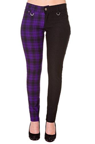"Pantalones Ajustados Púrpura Tartán a Cuadros Emo Punk de Banned para Mujeres de Piernas Separadas - (S / 28"" / ES 38)"