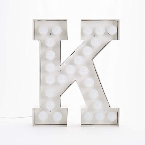 Seletti Vegaz Lettre en métal avec ampoules LED H cm 60 K E27 Blanc