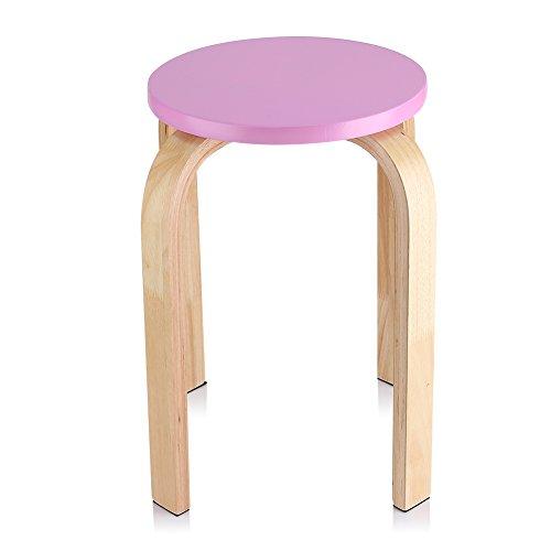 Zerone Hocker Sitzhocker Holzhocker Stapelhocker Küchenhocker Wohnzimmer Möbel Dekoration (Farbe optional) (Rosa)
