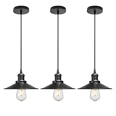 CeilSong Vintage Industrial Style Ceiling Pendant Lights,Set of 3 Black Metal Pendant Lights,Hanging Light Fixture for Kitchen Island,Farmhouse,Living Room,Bedroom (Matte Black)