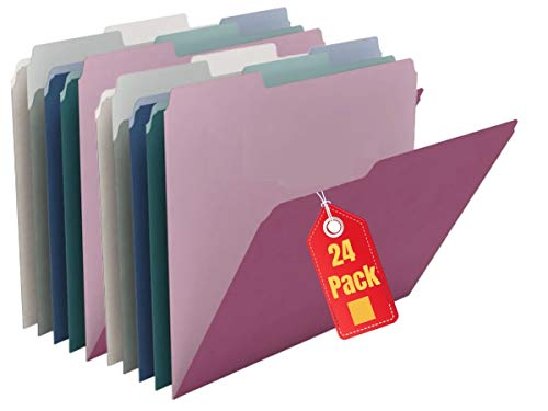 1InTheOffice Colored File folders Letter Size, 3-Tab, Assorted Jewel Tone Colors, 24 Pack