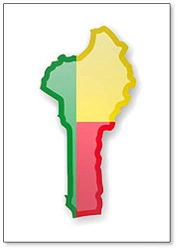 Kühlschrankmagnet Benin Flagge & Karte