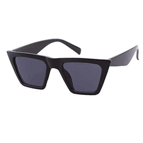 ADEWU Mode Damen Oversized Sonnenbrille Vintage Übergroße Katzenauge Brille Sonnenbrille Damenbrillen Frauen Cat Eye Sunglasses - Schwarz
