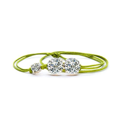 GioielliB ® Made in Italy Damen Armband mit Swarovski Kristallen, Kordel in verschiedenen Farben, elegant und modisch, Neuheit 2019 grün