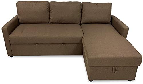 MUEBLIX.COM | Sofa Cama Chaise Longue 3 Plazas Palma | Sofas de Salón Modernos | Asientos y Respaldo Espuma | Sofa con Estructura de Madera y Patas Metal | Color Marron