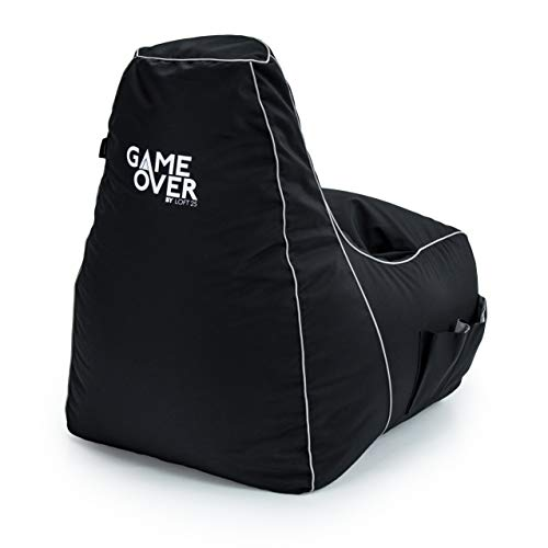 Game Over Purifying Code Video Gaming Bean Bag Chair | Indoor Living Room | Side Pockets for Controllers | Headset Holder | Ergonomic Design for the Dedicated Gamer