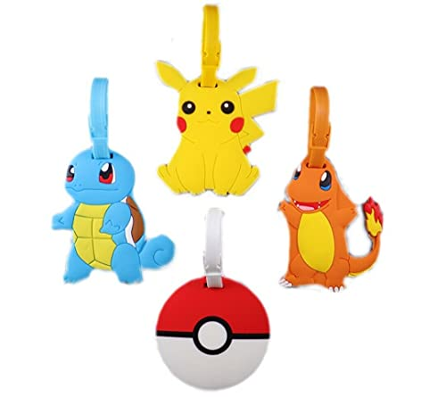 Pokemon Travel Luggage Tags Set of 4 with adjustable strap, Pikachu Pokemon Ball Squirtle Charmander Id tag for backpack, suitcase, school bag, baby stroller, best gift for kids