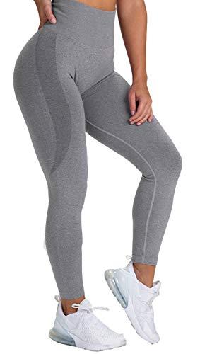CNASA Leggings für Frauen, Po, Lift, Yoga, Sport, Workout, sexy, nahtlos, hohe Taille Gr. S, dunkelgrau