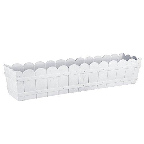 Emsa Country Window Box - Jardinera resistente a los rayos UV, resistente a heladas, Blanco, 75 x 17 x 15 cm