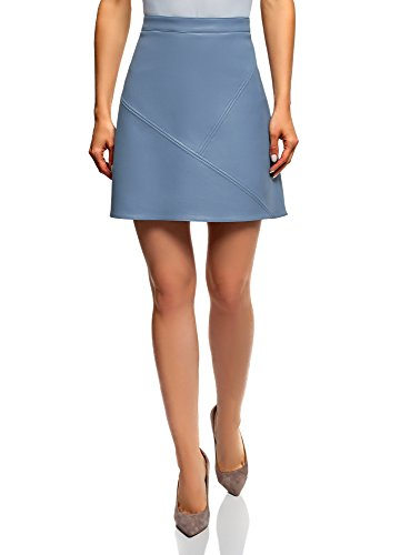 oodji Ultra Women's Faux Leather Trapeze Skirt, Blue, Small