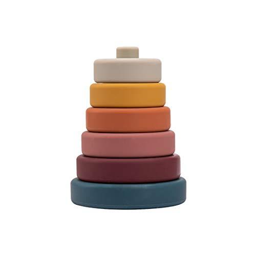 Promise Babe Stapelturm Silikon Baby Spielzeug Lernspielzeug Sortier Stapel Steckspielzeug Montessori Sortier Stapel zum Sortieren von Größen und Farben Geburtstagsgeschenk ab 6 Monaten (Rund)