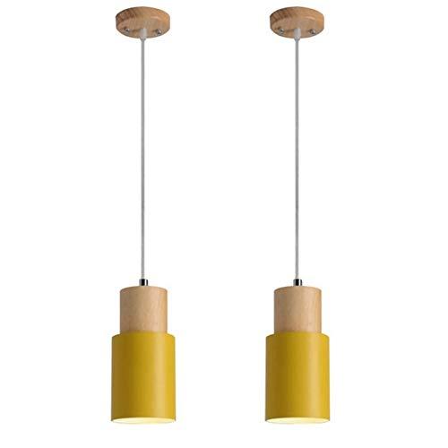 YAN FEI Lámpara de iluminación de 2 unidades de Ø10 cm, diseño nórdico, moderno, simple, para colgar en el techo, color amarillo, cilíndrico, para cocina, isla de hotel, decoración del hogar