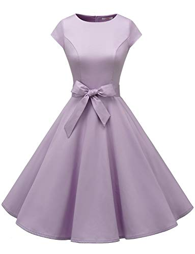 Dressystar 1956 Vintage 1950s Retro Rockabilly Prom Dresses Cap-Sleeve Lavender M