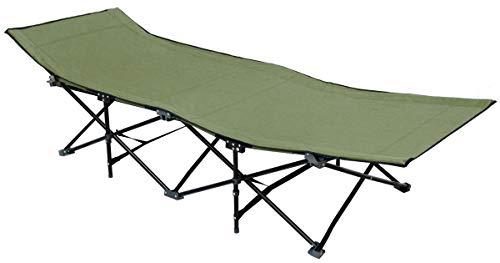 AMANKA Faltbett Faltliege Feldbett Grün Camping-Metall-Klappiege ca. 190x70cm 10-Bein Liege Klappbett Stahlgestell
