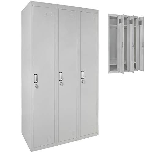 Dreifach Spind Schließfachschrank Metallschrank Garderobenschrank 180 x 90 x 50 cm ; Grau-Grau MIT Schlösser