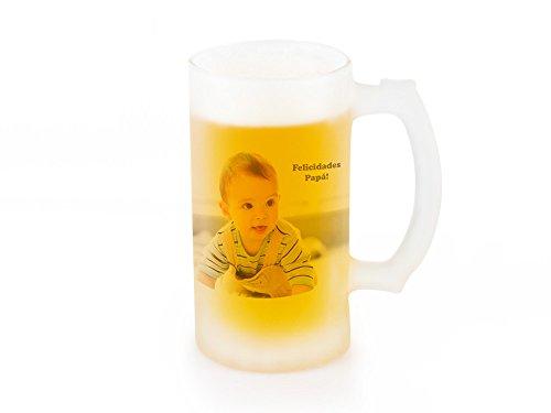Jarra de cerveza opaca de vidrio esmerilado personalizada con foto o texto...