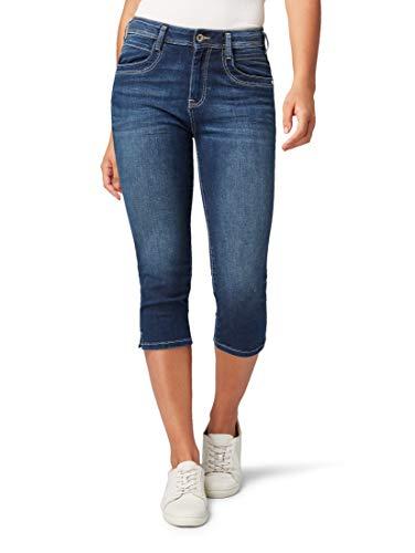 TOM TAILOR Damen Kate Capri Slim Jeans, Dark Stone Wash Denim, 29W