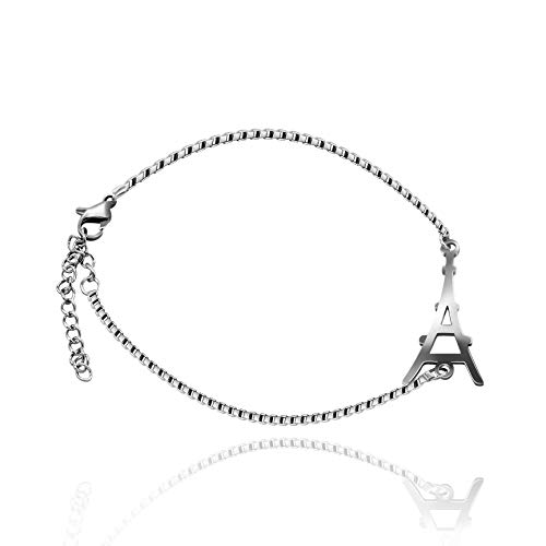 Uloveido romántico Color Plata Pulsera de la Torre Eiffel para Novia de Acero Inoxidable Pulsera de Cadena de Enlace extendido para Mujeres niñas Y495