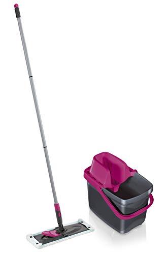 Leifheit Set Combi M micro duo mit rückenschonendem Wischer, Wischtuchpresse für effektives Auswringen, reinigungsstarker Bodenwischer mit Click-System, pink limited edition