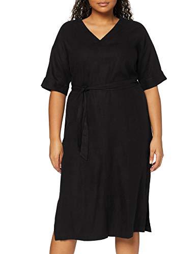 find. Damen Midi A-Linien-Kleid aus Leinen, Schwarz (Black), 40, Label: L