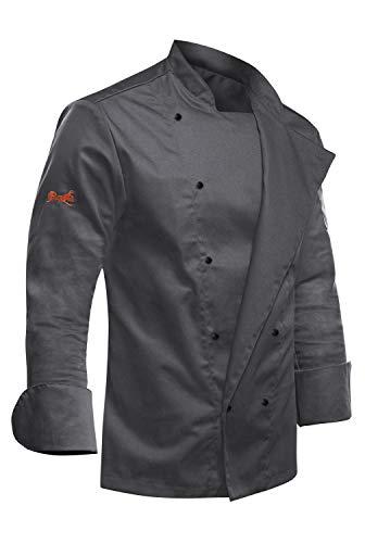 strongAnt® - Chaqueta de Chef para Hombrecon Botones de Bola, easyClean, Fácil de Planchar, Repelente de Suciedad, con Mangas Largas, Limpieza fácil - Color: Gris Antracita, Talla: XS