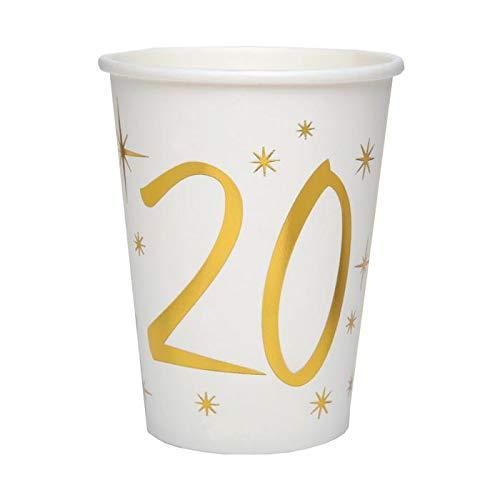 Chal - 20 Gobelets Anniversaire 20 ans blanc et or