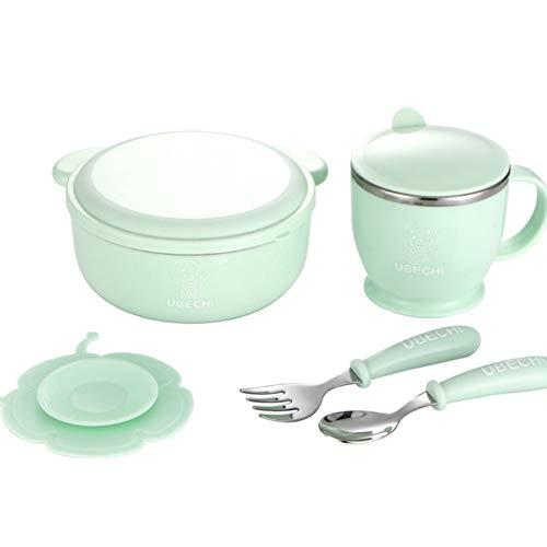 Set de vajilla para niños Mesa par con ensaladera y tapa, Taza De Leche, Cuchara Y Tenedor Interior de acero inoxidable,Green,bowl+cutlery+cup