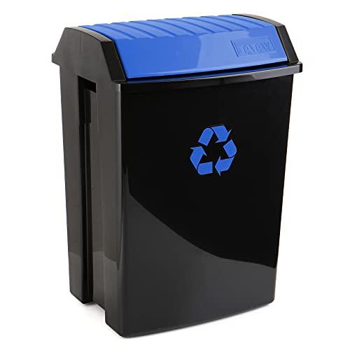 Tatay Cubo de Reciclaje, 50 L de Capacidad, Tapa Basculante, Polipropileno, Libre de BPA, Anti UVA, Color Azul, Medidas 40.5 x 33.5 x 57.5 cm
