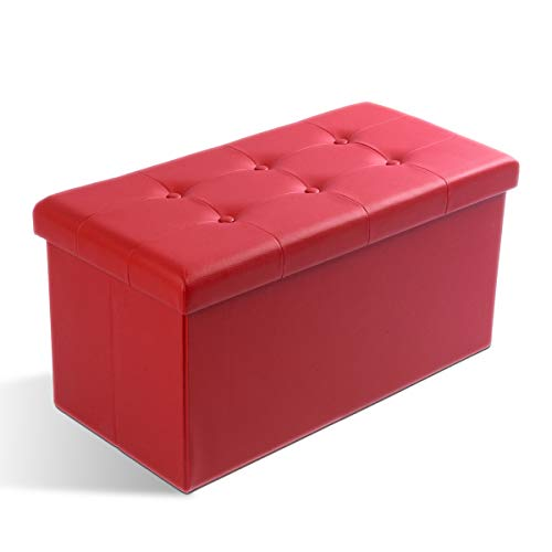 Zedelmaier Sitzhocker Sitzbank faltbar mit Stauraum belastbar bis 300 kg 76 x 38 x 38 cm(Dunkelrot) - 4