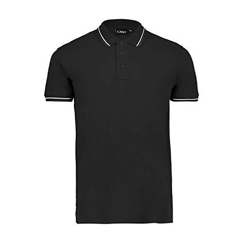 CMP Polo piqué pour Homme 100% Coton avec détails rayés, Noir 48