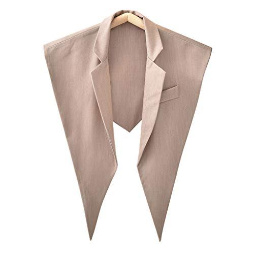 moregirl Frauen Herbst Dreieck Schal Schal Revers einfarbig gefälschte Kragen Halskette ärmellose Weste Büro Lady Harajuku Bluse dekorative Kleidung-Kaki