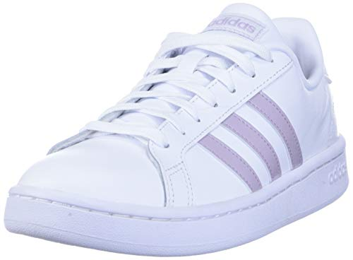 adidas Women's Grand Court Track and Field Shoe, ftwr white/mauve/grey two, 10.5 Standard US Width US