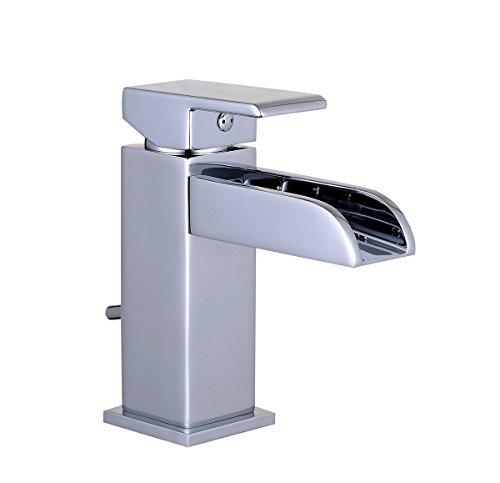 EISL Waschtischarmatur Waterway, Wasserhahn Bad mit Schwallauslauf, Badarmatur, Einhebelmischer mit Ablaufgarnitur NI075WCR-E, Chrom
