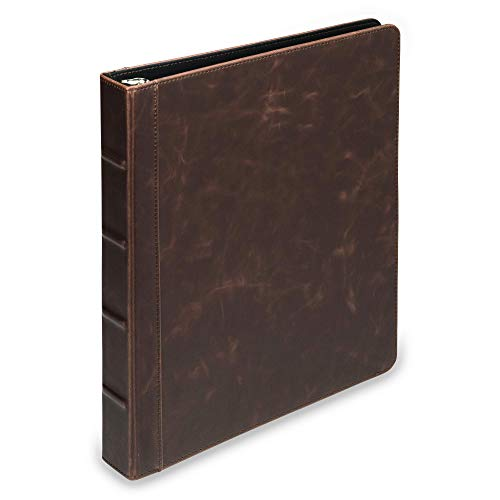 Samsill Vintage Hardback Book Binder/Professional Binder Organizer/Planner Binder / 1 Inch 3 Ring Binder/Dark Brown (No Zipper, Letter Size)