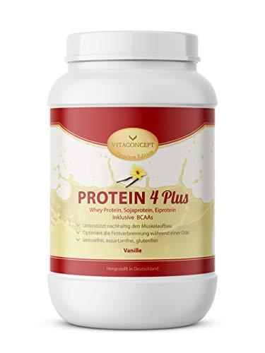 PROTEIN PULVER 4 PLUS I 1kg Proteinpulver I Whey Protein - Sojaprotein inkl. BCAA I Made in Germany von VITACONCEPT Vanille