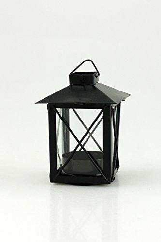 Goldbach Metall Laterne mit Teelicht Einsatz, 7x 9,5cm, Schwarz