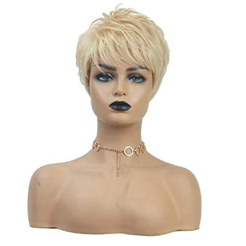 perfeclan 8 Zoll Echthaar Perücke Kurzhaar Blonde Kurzhaarperücke für Damen