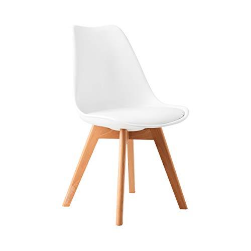 Butlers Seat of The Art Stuhl 49x52x83 in Weiß - Designer Stuhl aus Kunststoff und Holz - Esszimmerstuhl, Küchenstuhl