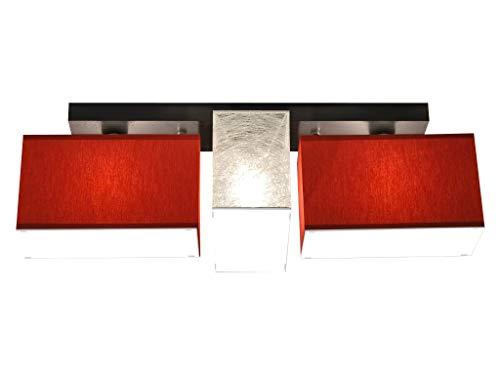 Deckenlampe mit Blenden BLEJLS3185D Deckenleuchte Leuchte Lampe 3-flammig Holz Kinderzimmer Wohnzimmer Schlafzimmer Küche Lampe LED-geeignet (2 x Rot / 1 x Silbern)