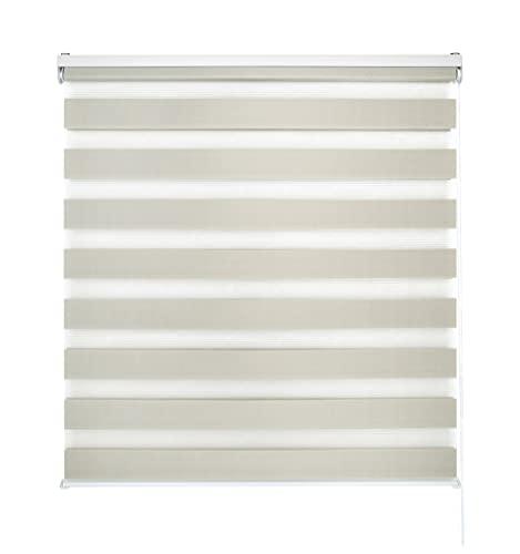 Blindecor LIRA - Estor enrollable de doble capa Noche y Día, Beige, 80 x 180 cm, ancho x largo