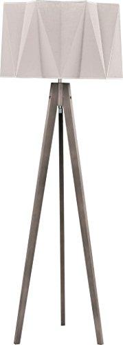 Stehlampe Dreibein Holz Stoff Schirm Grau Beige Creme H 140cm E27 Lampe Skandinavisches Design Stehleuchte Wohnzimmer Flur