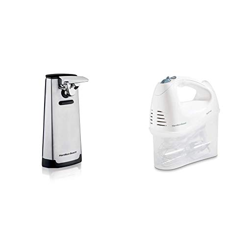 Hamilton Beach Steel Electric Automatic Can Opener & Beach 6-Speed Electric Hand Mixer, Beaters and Whisk, with Snap-On Storage Case, White
