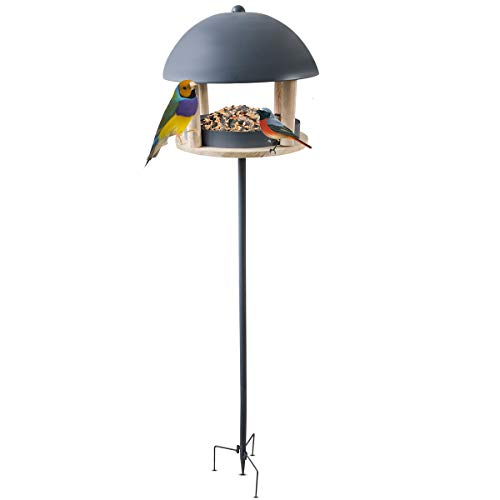 FiNeWaY Stylish Nordic Bird Table Feeder House With Dome Roof – Attracts Birds – Garden Feeding Station