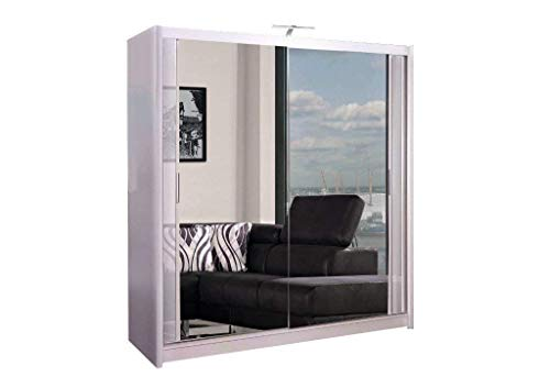 Armario de 2 o 3 puertas correderas con espejo con luz LED, 90 cm, 120 cm, 150 cm, 180 cm, 203 cm, 250 cm, color blanco, negro, gris, nogal y roble 90 cm blanco