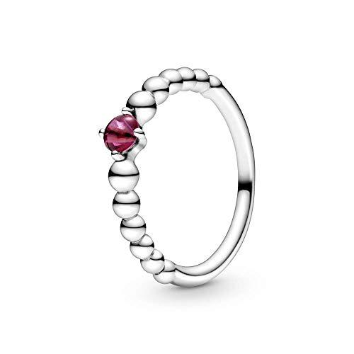 Pandora Anillo solitario para mujer, plata de ley 925, talla 58, color rojo
