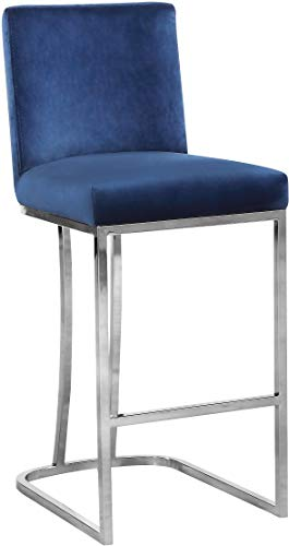 Meridian Furniture Heidi Collection Modern | Contemporary Velvet Upholstered Counter Stool with Polished Chrome Metal Legs, 16