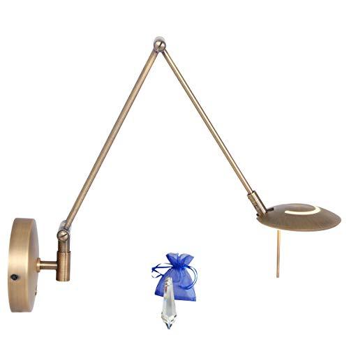 Schaarlamp, scharnier, wandlamp, brons, fumé, LED 6 watt, trekharmonica, wandlamp, uittrekbaar met dimmer 2110BR + kristal Giveaway