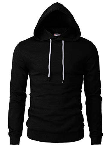 H2H Mens Basic Slim Fit Long Sleeve Hoodie Sweatshirts BLACK US M/Asia L (CMOHOL050)