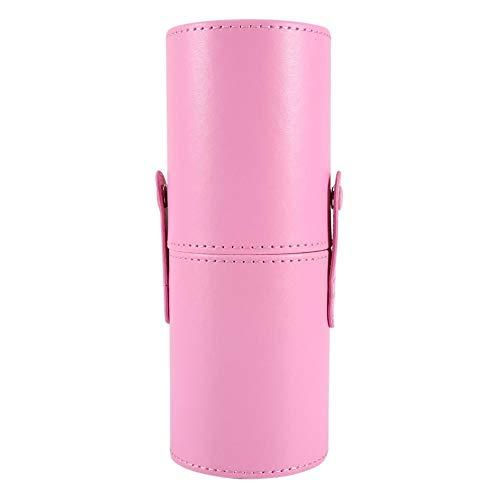Qkiss Vide Brosses de Maquillage de Voyage Portables Porte-stylo Rond Étui à Cosmétiques En Cuir PU (rose)