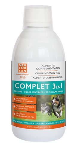 Menforsan Alimento Complementario Líquido Complet 3en1 para Perros y Gatos, Suplemento Que Mejora la Movilidad y Elasticidad, Reduce Problemas de la Piel, Proporciona energía y vitalidad a tu Mascota ✅